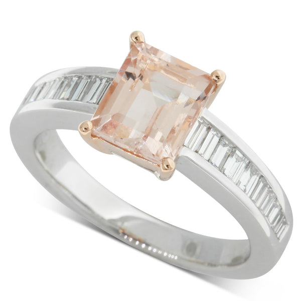 18ct White Gold & 18ct Rose Gold Morganite & Diamond Ring - Walker & Hall