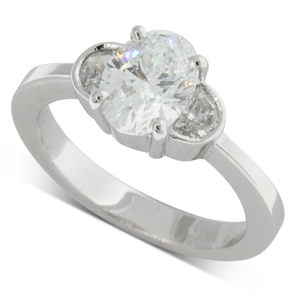 18ct White Gold 1.51ct Oval Cut Diamond Ring - Walker & Hall