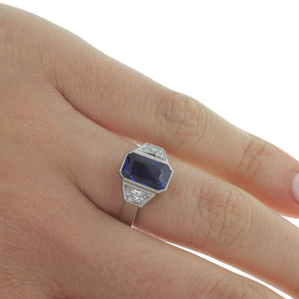 Platinum Sapphire & Diamond Ring - Walker & Hall
