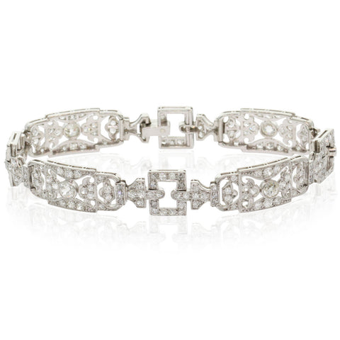 Vintage Platinum & Diamond Art Deco Bracelet - Walker & Hall