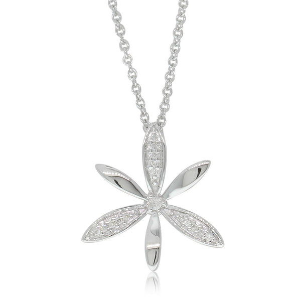 9ct White Gold Diamond Star Jasmine Pendant - Walker & Hall