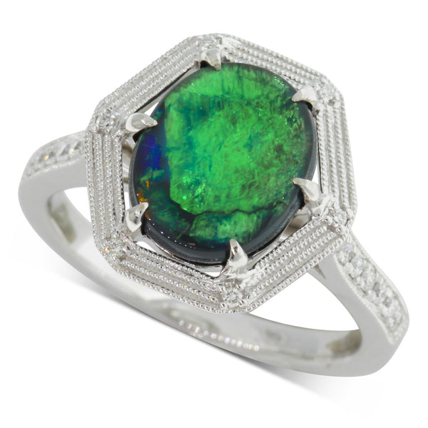 18ct White Gold Black Opal & Diamond Ring