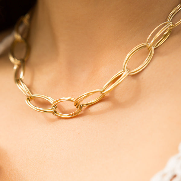 18ct Yellow Gold Oval Quattro Link Chain - Walker & Hall