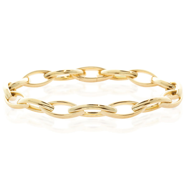 18ct Yellow Gold Oval Link Bracelet - Walker & Hall