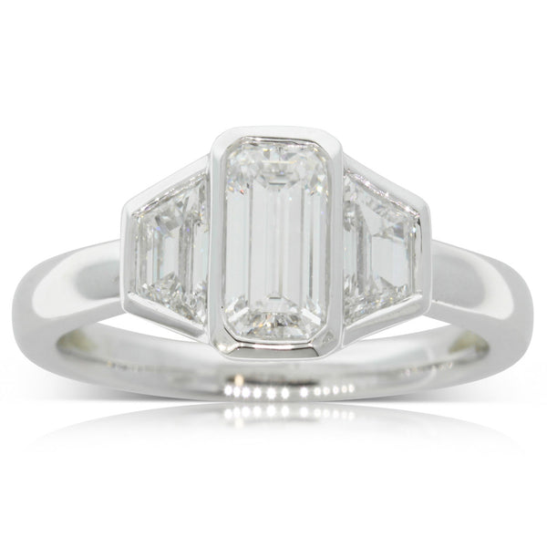 18ct White Gold .90ct Emerald Cut Diamond Ring - Walker & Hall