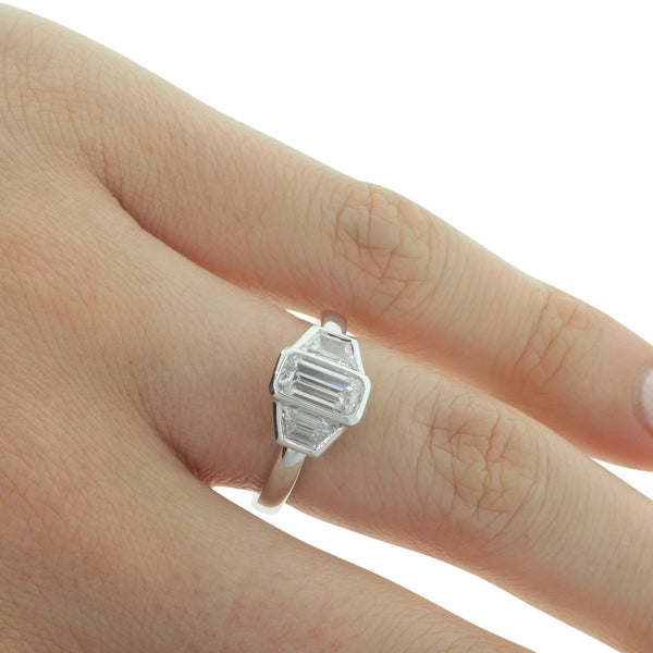 18ct White Gold Emerald Cut Diamond Ring - Walker & Hall