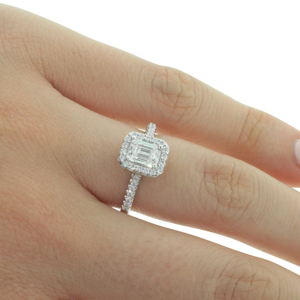 18ct White Gold 1.00ct Emerald Cut Diamond Halo Ring - Walker & Hall