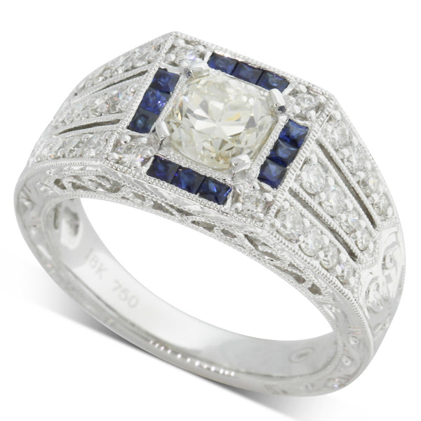18ct White Gold .82ct Diamond & Sapphire Ring