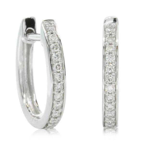 9ct White Gold .15ct Diamond Hoop Earrings - Walker & Hall