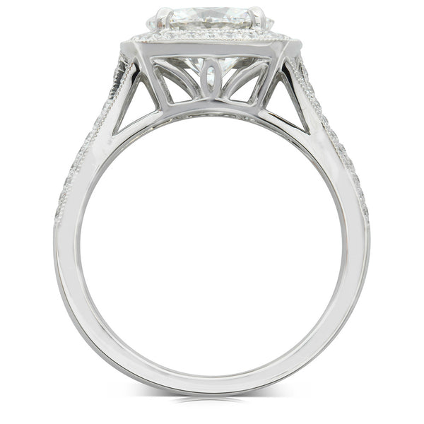 18ct White Gold 2.08ct Diamond Halo Ring - Walker & Hall