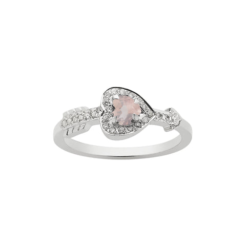 Meadowlark Heart & Arrow Ring - Rose Quartz - Walker & Hall