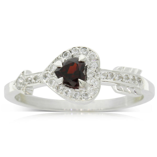 Meadowlark Heart & Arrow Ring - Thai Garnet - Walker & Hall