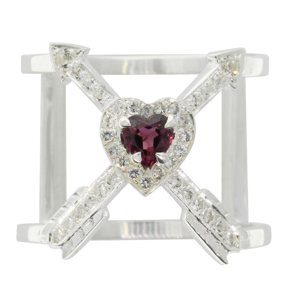 Meadowlark Heart & Arrow Cross Ring -  Rhodolite Garnet - Walker & Hall