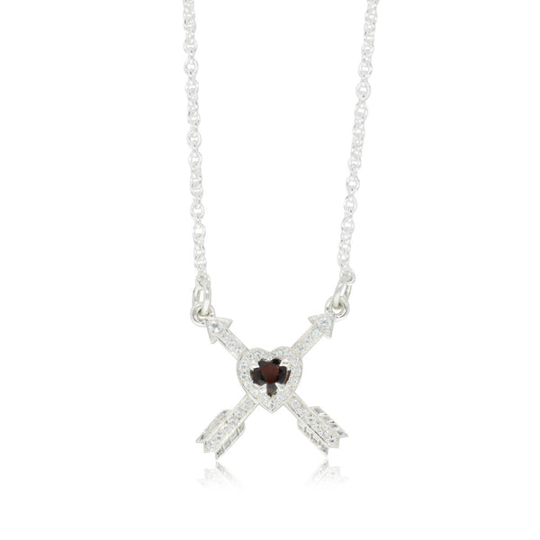 Meadowlark Heart & Arrow Cross Necklace - Thai Garnet - Walker & Hall