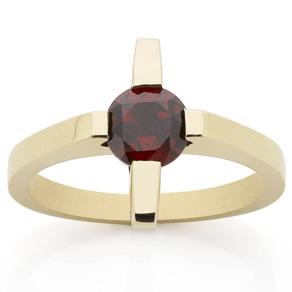 Meadowlark Cross Solitaire Ring - Yellow Gold & Thai Garnet - Walker & Hall