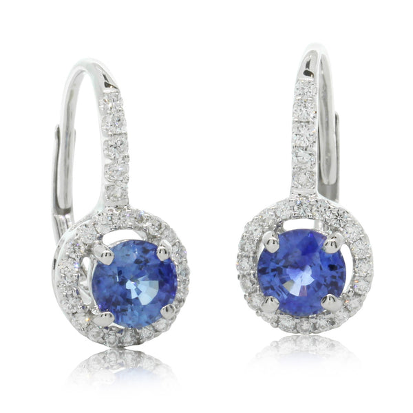 18ct White Gold 1.00ct Sapphire & Diamond Earrings - Walker & Hall