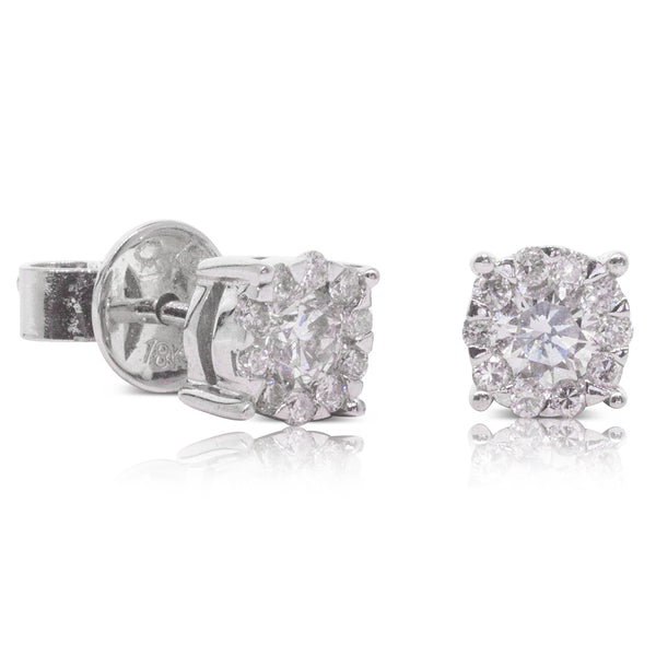 18ct White Gold .54ct Diamond Cluster Studs - Walker & Hall