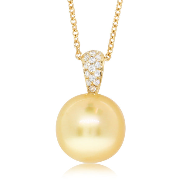 18ct Yellow Gold Golden Pearl & Diamond Pendant - Walker & Hall