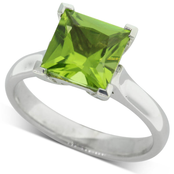 9ct White Gold Peridot Dress Ring - Walker & Hall