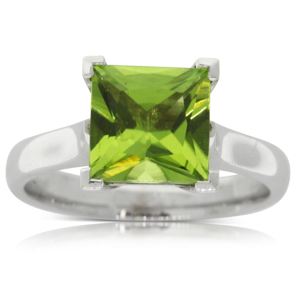 9ct White Gold Peridot Dress Ring