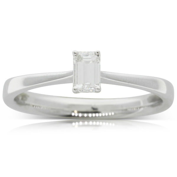 18ct White Gold Emerald Cut Diamond Solitaire Ring - Walker & Hall