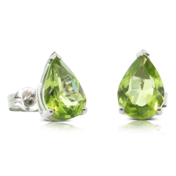 9ct White Gold 2.80ct Peridot Stud Earrings