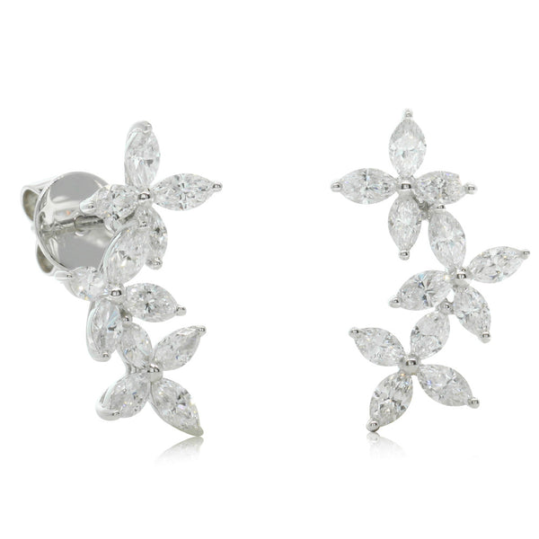 18ct White Gold 1.87ct Diamond Climber Earrings - Walker & Hall