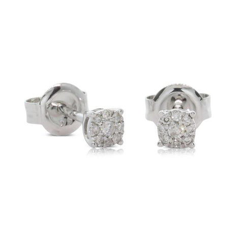 9ct White Gold Mini Diamond Galaxy Studs - Walker & Hall