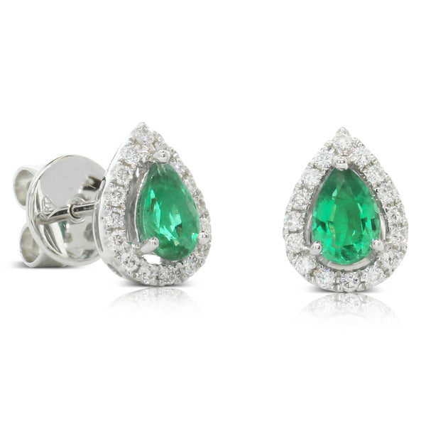 18ct White Gold .61ct Emerald & Diamond Earrings - Walker & Hall