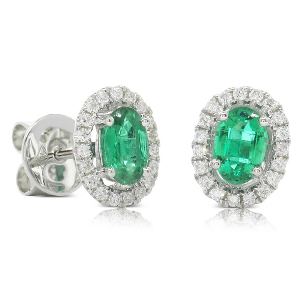 18ct White Gold .85ct Emerald & Diamond Earrings - Walker & Hall