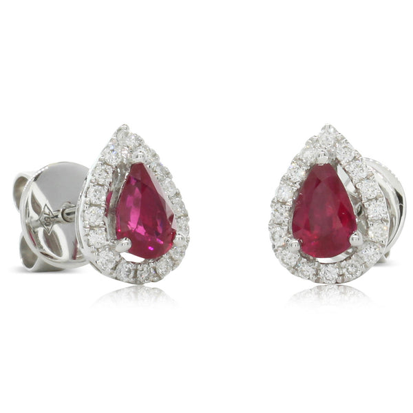 18ct White Gold .92ct Ruby & Diamond Earrings