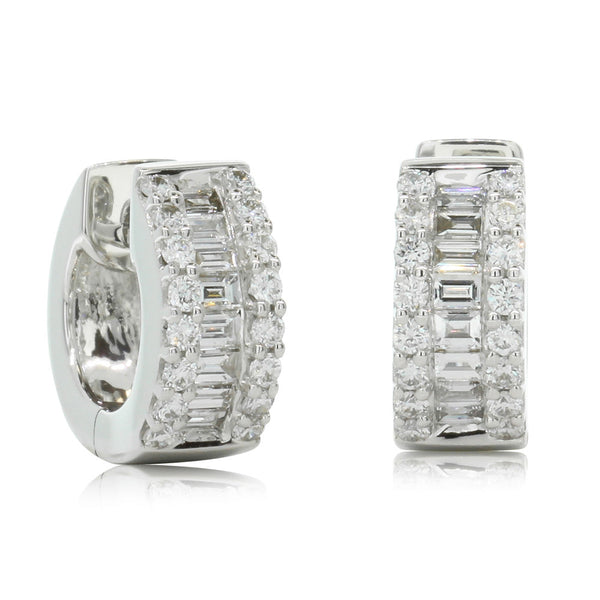 18ct White Gold Diamond Huggie Earrings - Walker & Hall