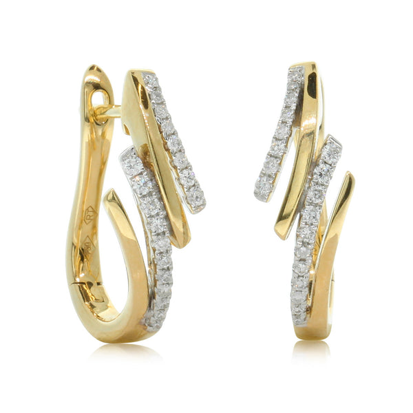 18ct Yellow Gold .24ct Diamond Earrings - Walker & Hall
