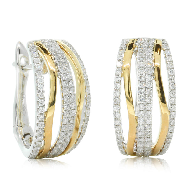 18ct Yellow & White Gold Diamond Hoops - Walker & Hall