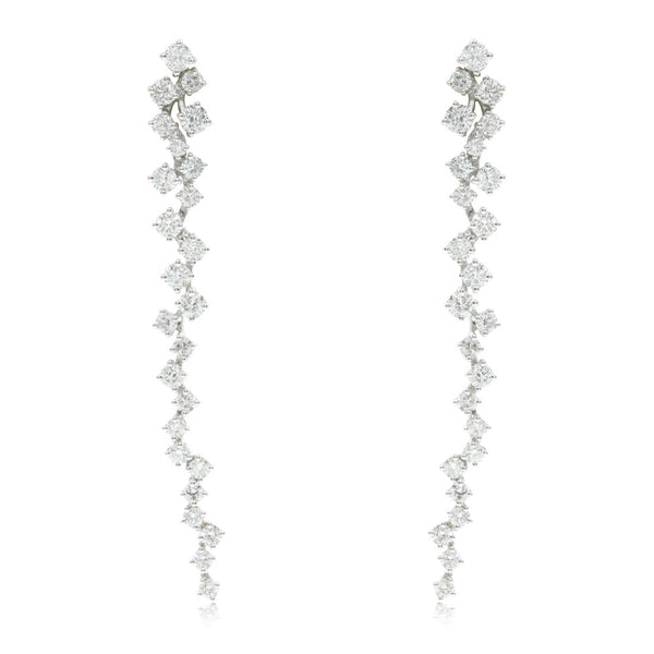 18ct White Gold 2.15ct Diamond Drop Earrings - Walker & Hall