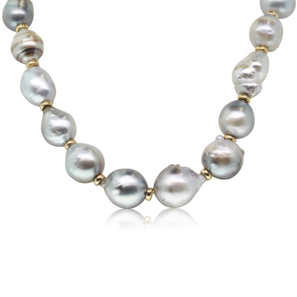 Baroque Cultured South Sea Pearl Necklace With 9ct Yellow Gold Clasp