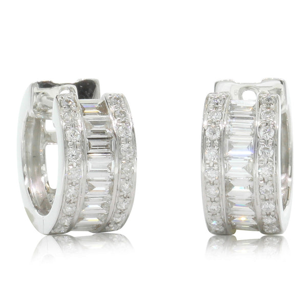 18ct White Gold .68ct Diamond Hoop Earrings - Walker & Hall
