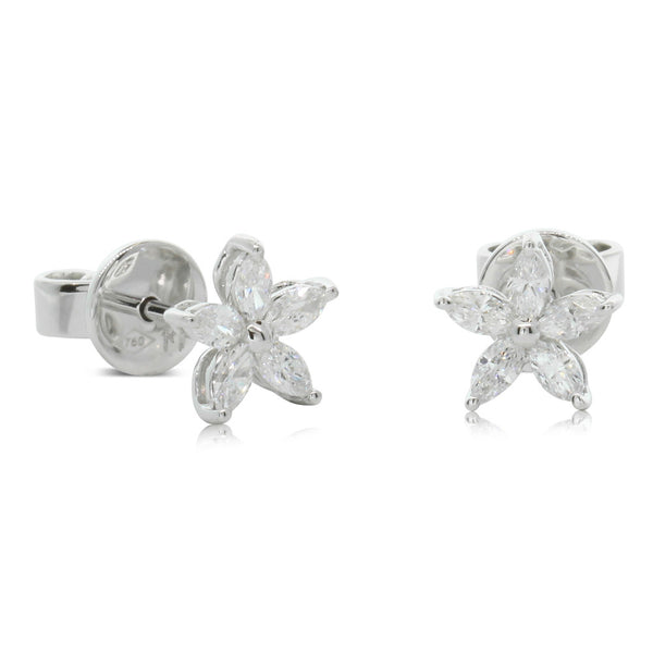 18ct White Gold Diamond Jasmine Earrings - Walker & Hall