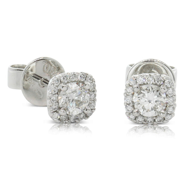 18ct White Gold .63ct Diamond Peony Earrings - Walker & Hall