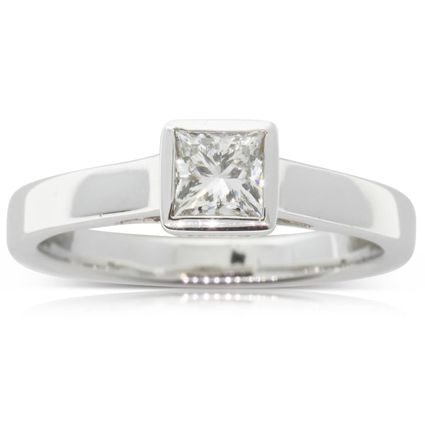 18ct White Gold .50ct Princess Cut Diamond Ring - Walker & Hall