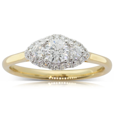 18ct Yellow Gold .30ct Diamond Posie Ring - Walker & Hall