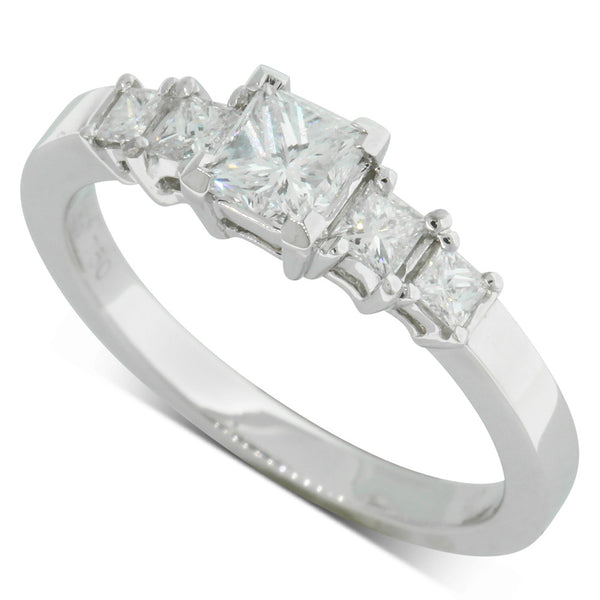 18ct White Gold .70ct Princess Cut Diamond Ring - Walker & Hall