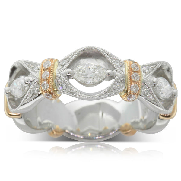 18ct White & 18ct Rose .55ct Gold Diamond Dress Ring - Walker & Hall