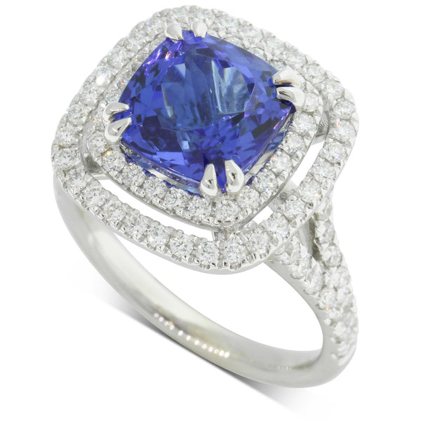 18ct White Gold 4.53ct Tanzanite & Diamond Ring - Walker & Hall