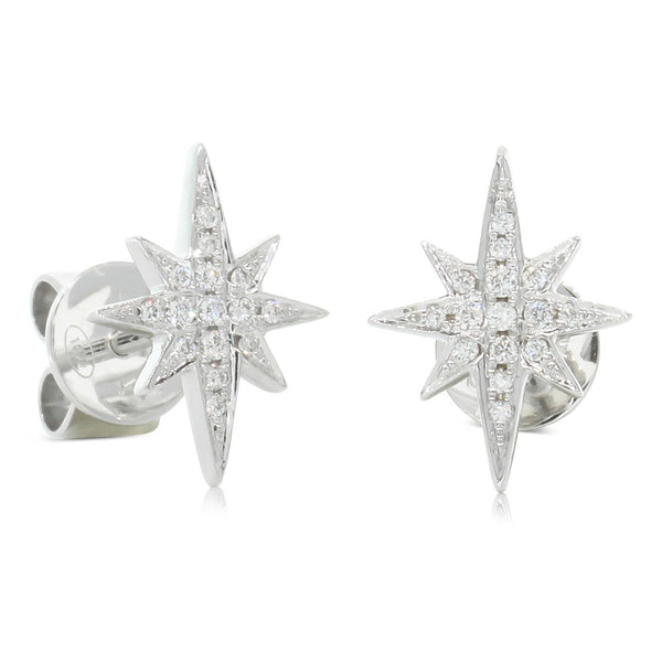 18ct White Gold Diamond Supernova Earrings - Walker & Hall