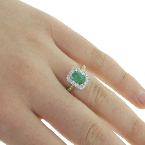 18ct Yellow Gold & 18ct White Gold Emerald & Diamond Ring - Walker & Hall