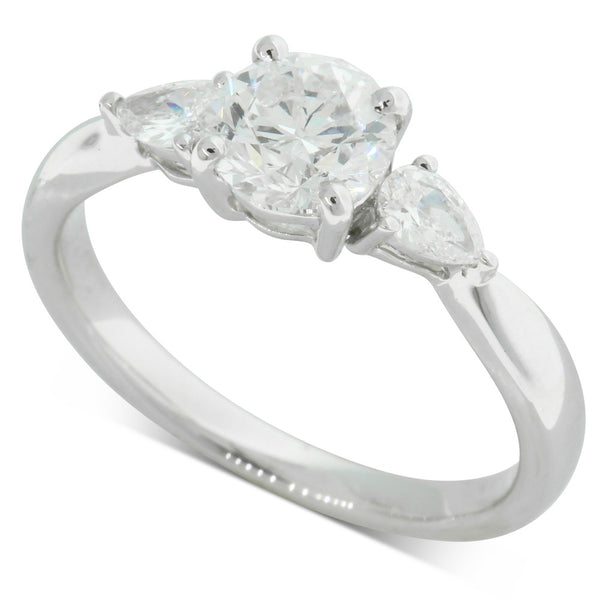 Platinum 1.00ct Diamond Three Stone Ring - Walker & Hall