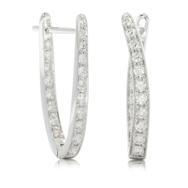 18ct White Gold .76ct Diamond Hoop Earrings - Walker & Hall