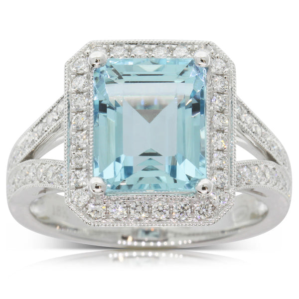 18ct White Gold Aquamarine & Diamond Ring - Walker & Hall