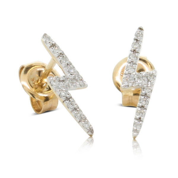 9ct Yellow Gold Diamond Lightning Bolt Earrings - Walker & Hall
